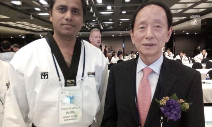 Master Nilesh Jalnawala with Mr. Jeong Mansoon - President, Kukkiwon